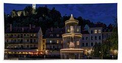 Beach Towel featuring the photograph Ljubljana Night Scene #3 - Slovenia by Stuart Litoff