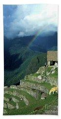 Llama And Rainbow At Machu Picchu Beach Towel