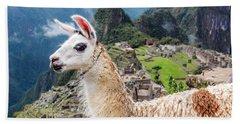 Llama At Machu Picchu Beach Towel by Jess Kraft