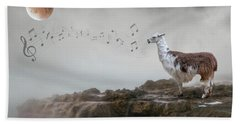 Llama Singing To The Moon Beach Towel