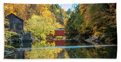 Mcconnell's Mill And Covered Bridge Beach Towel by Skip Tribby