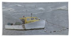 Lobster Boat In Kettle Cove Beach Sheet