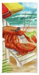 Lobster Drinking A Margarita Beach Towel