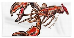 Beach Towel featuring the painting Lobster by Monique Faella