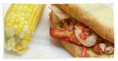 Lobster Roll And Corn On The Cob Beach Towel