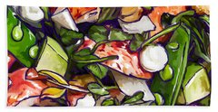 Beach Towel featuring the painting Lobster-salad2 by Tim Gilliland