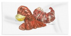 Lobster Tail And Meat Beach Sheet