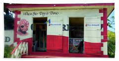 Beach Towel featuring the photograph Local Rum Shop, Barbados by Kurt Van Wagner