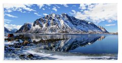 Lofoten Winter Scene Beach Sheet