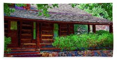 Log Cabin Front Porch Beach Towel