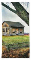 Log Cabin - Paradise Springs - Kettle Moraine State Forest Beach Sheet by Jennifer Rondinelli Reilly - Fine Art Photography