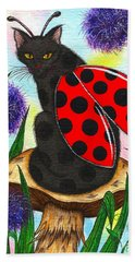 Logan Ladybug Fairy Cat Beach Towel
