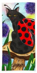 Beach Towel featuring the painting Logan Ladybug Fairy Cat by Carrie Hawks