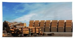 Logs And Plywood At Lumber Mill Beach Towel