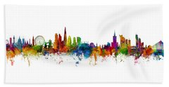 London And Warsaw Skylines Mashup Beach Towel