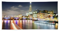 London At Night With Urban Architecture, Amazing Skyscraper And Boat At Thames River, United Kingdom Beach Towel