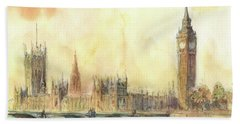London Big Ben And Thames River Beach Towel