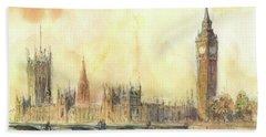 London Big Ben And Thames River Beach Towel
