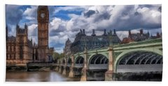 Beach Towel featuring the painting London Big Ben by David Dehner