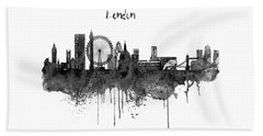 London Black And White Skyline Watercolor Beach Towel by Marian Voicu
