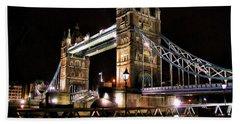 London Bridge At Night Beach Towel
