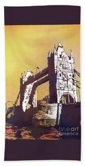 Beach Sheet featuring the painting London Bridge- Uk by Ryan Fox