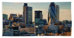 Beach Towel featuring the photograph London City Of Contrasts by Lois Bryan