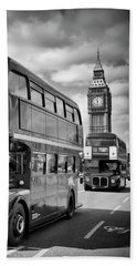 London Classical Streetscene Beach Towel by Melanie Viola