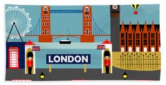 London England Horizontal Scene - Collage Beach Towel