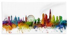 London England Skyline 16x20 Ratio Beach Towel