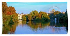 London Eye And Palace Beach Towel by Haleh Mahbod
