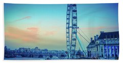 London Eye At Dusk Beach Sheet