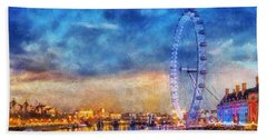 Beach Towel featuring the photograph London Eye by Ian Mitchell