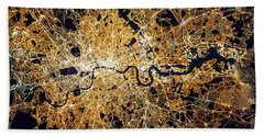 Beach Towel featuring the photograph London From Space by Delphimages Photo Creations