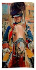 London Guard On Horse Beach Towel