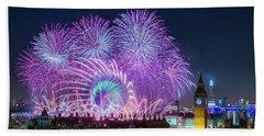 London New Year Fireworks Display Beach Towel