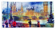 London Rain Watercolor Beach Towel