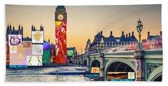 London Skyline Collage 3 Inc Big Ben, Westminster  Beach Towel