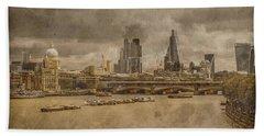 London, England - London Skyline East Beach Towel