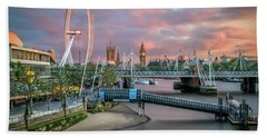 London Skyline Sunset Beach Towel