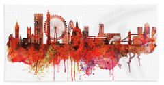 London Skyline Watercolor Beach Sheet by Marian Voicu