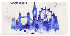 London Skyline Watercolor Poster - Cityscape Painting Artwork Beach Sheet