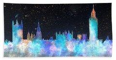 London Skyline With Banner Beach Towel