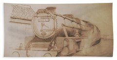 London Steam Locomotive  Beach Towel