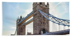 Beach Towel featuring the photograph London - The Majestic Tower Bridge by Hannes Cmarits