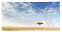 Lone Acacia Tree In The Masai Mara Beach Towel
