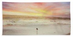 Lone Bird At Sunset Beach Towel