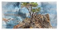 Lone Cypress In Monterey California Beach Towel