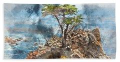 Lone Cypress In Monterey California Beach Sheet