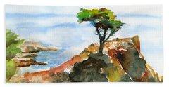 Lone Cypress Pebble Beach Fog Beach Sheet